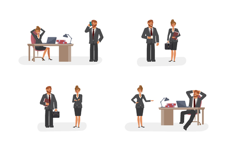 Smart businessman and woman character creation set with various views, face emotions, poses and gestures in cartoon style. Illustration