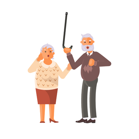 Grandparents family Seniors screaming in horror and grab for heart and defend with stick. Flat Art Vector illustration