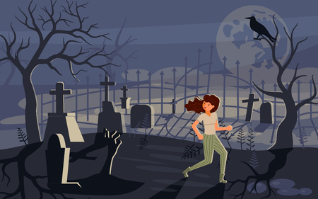 Girl screaming in horror and running away from the zombie who is chasing her. Ghost and lonely woman on Scary Halloween background with old cemetery and moonlit night. Flat Art Vector illustration