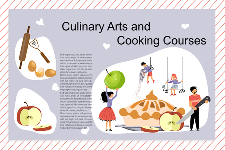 Culinary art and cooking courses Poster, banner template. Happy family cooking together an apple cake. Dad, mom, daughter, son enjoys of cookery. Flat Art Vector illustration