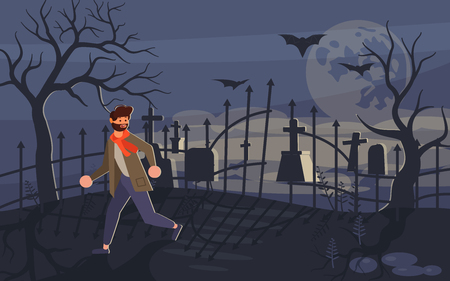 Man screaming in horror and running away from the zombie who is chasing him. Ghost and lonely boy on Scary Halloween background with old cemetery and moonlit night. Flat Art Vector illustration