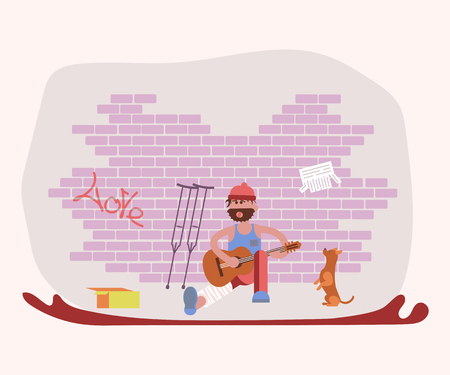 Street tramp performer man character and his dog singing songs with a guitar and begging. Flat Art Vector illustration