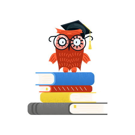 Colorful Educational logo and Back to school concept. Wise owl in graduate cap sitting on a stack of books. Flat Art Vector illustration Çizim