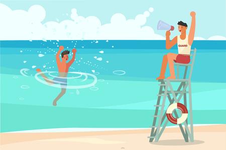 Junger Mann ertrinkt im Meer und bittet um Hilfe. Männlicher Rettungsschwimmer, der einen Ertrinkenden rettet, professioneller Retter im Dienst. Flache Kunst-Vektorillustration