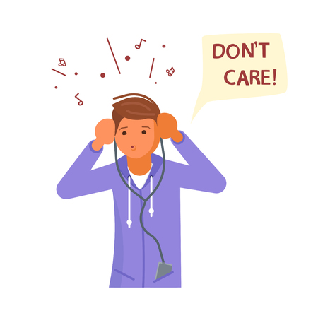 Male teenager is listening to music on headphones and not interested in anything. Dont care speech bubble above. Human character isolated on white background. Flat Art Vector illustration Illustration