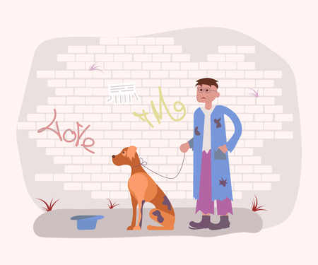Homeless Tramp person in dirty ragsand with Hungry Dog are begging for some  money. Flat Art Vector illustration
