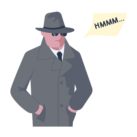 Mysterious man wearing a gray hat and coat with a raised collar solves the riddle or problem. Hmm speech bubble above. Human character isolated on white background. Flat Art Vector illustration Illustration