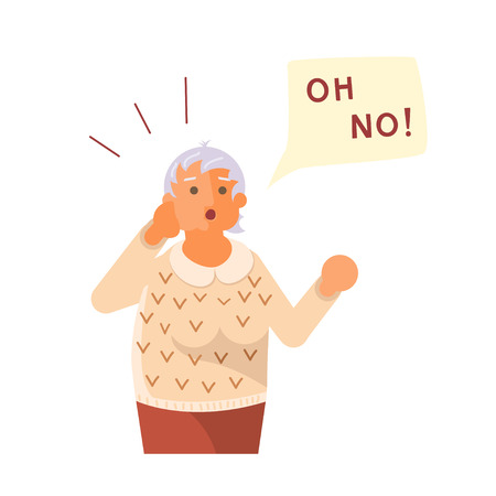Old lady exclaim in surprise and raises his hands to his head. Oh No! speech bubble above. Human character isolated on white background. Flat Art Vector illustration