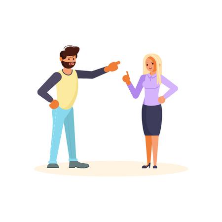 Concepto de relación profesional superior y subordinada. Jefe reprochando a su empleado. El empresario reprende o reprende a su subordinada. Ilustración de Vector de arte plano