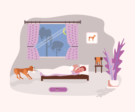 A dog carrying off blanket from the sleeping owner and asks to walk. Flat Art Vector illustration