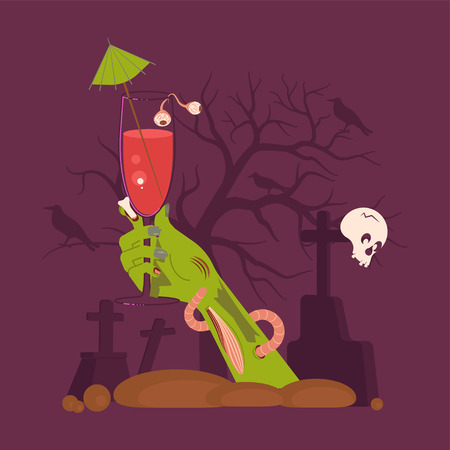 Green Zombie Hand holding a Cocktail Rising Out Of A Grave Scary and  on cemetery Halloween background. Flat Art Vector illustration