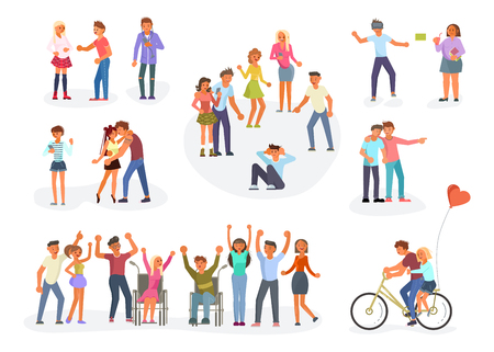 Big set of teenagers in different situations. Teens are mocking for Sad boy, wheelchair disabled person with friends, VR user, fat alone girl, happy teens dancing, young pair of lovers et al. Flat Art Vector illustration