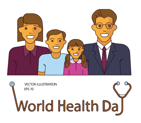 World Health Day idea campaign concept for greeting card and poster. Happy and healthy family with smiling mother, father, son and daughter. Flat Art Vector illustration