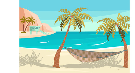 Dream scene with Beautiful beach. Hammock between two palm trees on the beach. Holiday and vacation concept. Flat Art Vector illustration