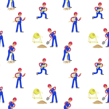 Seamless primitive pattern with Construction Worker character in various poses white background. Flat Art Vector illustration