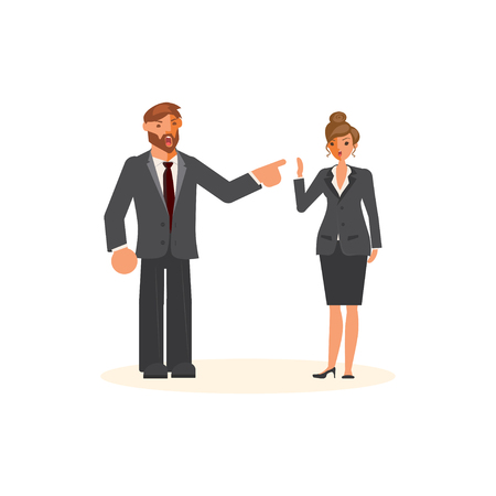 Superior and subordinate professional relationship concept. Boss reproaching his employee. Businessman reprimands or reproof his female subordinate. Flat Art Vector illustration