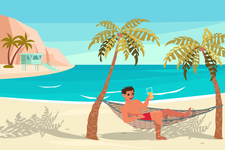 Dream scene with Beautiful beach. People on summer vacation concept. A young man lies on a Hammock between two palm trees and relaxes. Flat Art Vector illustration