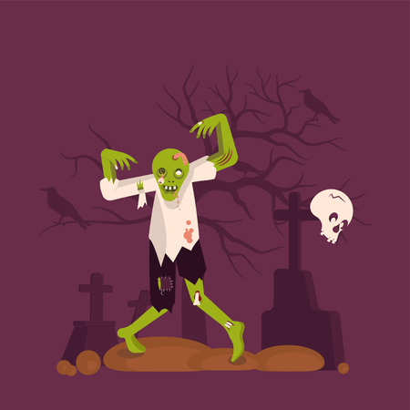 Concept of zombie man on cemetery background. Halloween Nightmare landscape with dead people. Panorama of undead monster and gravestone. Flat Art Vector illustration