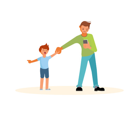 Smartphone addicted parentr with device. Son demands attention from daddy. Flat Art Vector illustration Ilustração