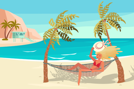 Dream scene with Beautiful beach. People on summer vacation concept. A young woman lies on a Hammock between two palm trees and relaxes. Flat Art Vector illustration