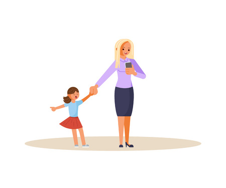Smartphone addicted parent with device. Daughter demands attention from Mother. Flat Art Vector illustration Reklamní fotografie - 119755701