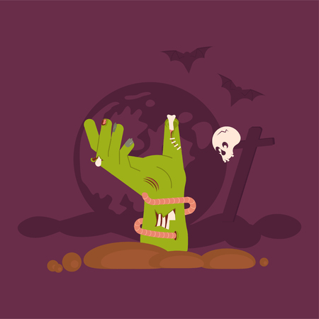 Green Zombie Hand Rising Out Of A Grave Scary on cemetery Halloween background. Flat Art Vector illustration