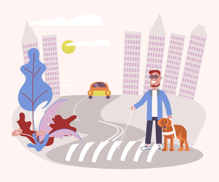 Blind person with guide dog and walking stick crossing the street. Flat Art Vector illustration