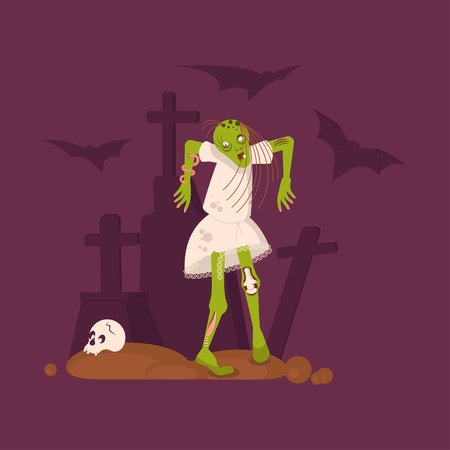 Concept of zombie woman on cemetery background. Halloween Nightmare landscape with dead girl. Panorama of undead monster and gravestone. Flat Art Vector illustration