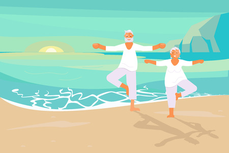 Dream scene with elderly people doing yoga at dawn on the sea coast beach. Retired Senior man and woman have relax. Flat Art Vector illustration