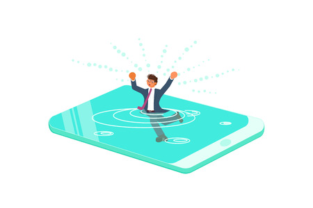 Smart phone addiction concept. Young man drowned or sank in the smartphone. Flat Art Vector illustration