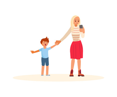 Smartphone addicted parent with device. Daughter demands attention from Mother. Flat Art Vector illustration