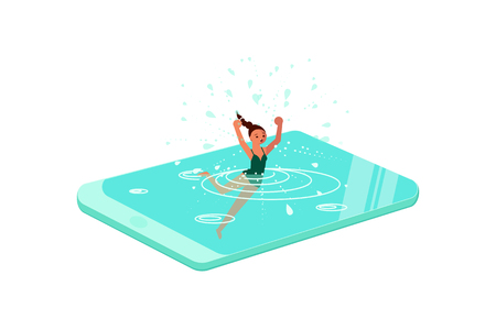 Smart phone addiction concept. Young woman drowned or sank in the smartphone. Flat Art Vector illustration