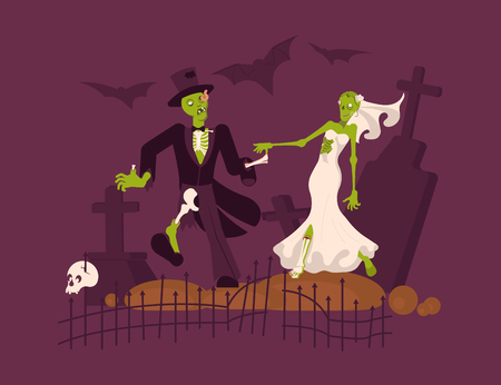 Cheerful dead bride and groom looking at each other on cemetery background. Halloween Nightmare landscape with undead monster and gravestone. Flat Art Vector illustration