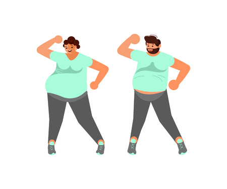 Body positive. Happy plus size husband and wife falls in love are dancing together. Flat Art Vector illustration