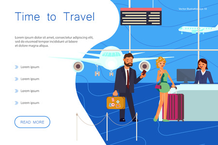 Time for travel website landing template. Happy people at the airport check-in desk on the background of the aircraft. Flat Art Vector illustration