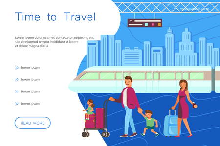 Time for travel website landing template. Happy family with mother, father son and daughter with luggage at the airport on the background of the aircraft. Flat Art Vector illustration