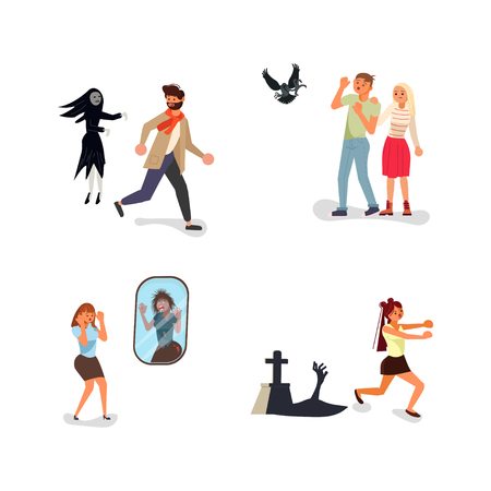 Set of scared people. Nervous and worried characters. Mental health problems, man an woman with phobias with afraid expression. Flat Art Vector illustration Standard-Bild - 123291225