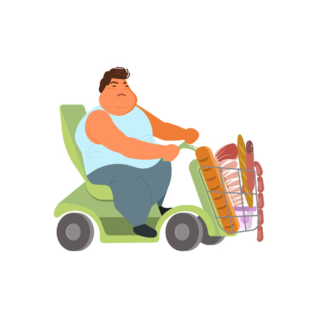 Oversize man in electric wheelchair for fat people in grocery shop. Flat Art Vector illustration