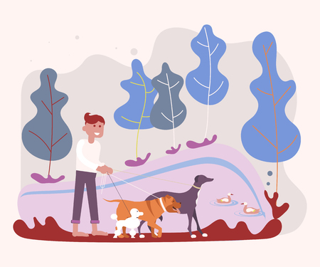 Dog sitter enjoying with dogs while walking outdoors. Young man pet owner in parkland. Flat Art Vector illustration  イラスト・ベクター素材