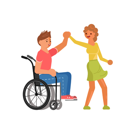 Concept of romantic relationships and marriage of disabled people isolated. Couple of lovers is dancing. Love and dating in flat design. Vector illustration eps 10