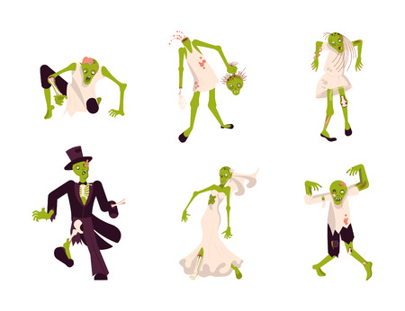 Conjunto de zombies divertidos aislado sobre fondo blanco. Personajes para Halloween. Ilustración de Vector de arte plano