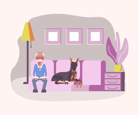 Old man pet owner sitting on sofa and reading the book. The dog is sleeping near. Flat Art Vector illustration
