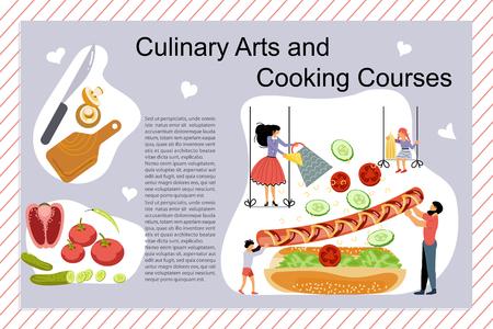 Affiche de cours d'art culinaire et de cuisine, modèle de bannière. Famille heureuse cuisinant ensemble un concept de hot-dog. Papa, maman, fille, fils aime la cuisine. Illustration vectorielle d'art plat Vecteurs