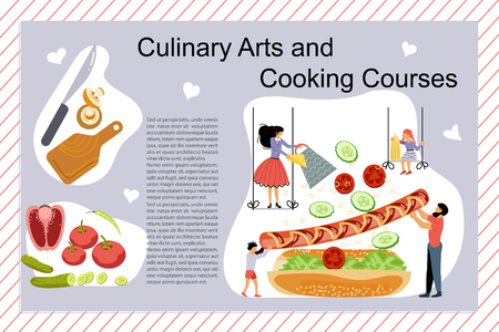 Culinary art and cooking courses Poster, banner template. Happy family cooking together a Hot Dog concept. Dad, mom, daughter, son enjoys of cookery. Flat Art Vector illustration Иллюстрация