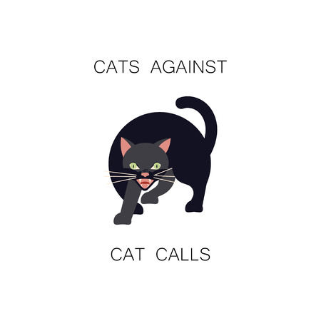 Angry black cat and the inscription Cats against catcalls on a white background. Useful for print on t-shit. Flat Art Vector illustration