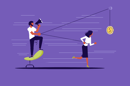 Creative concept of Boss use worker as slavery. Harnessed worker runs with all his might for a coin and drags his boss. Flat Art Vector illustration