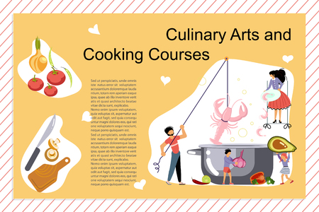 Culinary art and cooking courses Poster, banner template. Happy family cooking together a seafood soup concept. Dad, mom, daughter, son enjoys of cookery. Flat Art Vector illustration