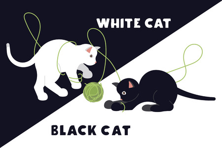 Frightened black and white kittens arch their back and hiss. Funny monochrome cats isolated suitable for cards, t-shirts and other. Flat Art Vector illustration