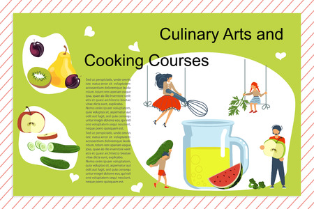 Culinary art and cooking courses Poster, banner template. Happy family cooking together a healthy green smoothie concept. Dad, mom, daughter, son enjoys of cookery. Flat Art Vector illustration