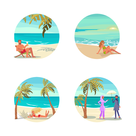 Dream scene with Beautiful beach in round design. Summer activities for people characters on vacation set. Flat Art Vector illustration